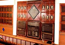 Donor Wall with cast bronze bas relief portraits