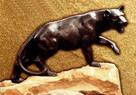Cast bronze panther statute