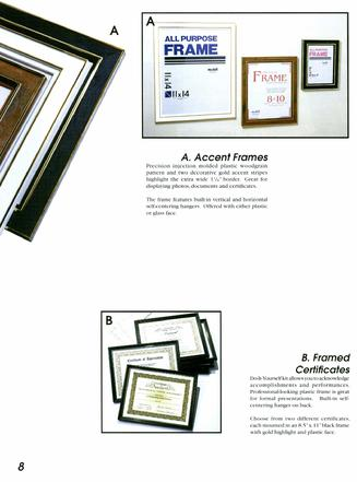Nu-Dell Accent Frames, Framed Certificates